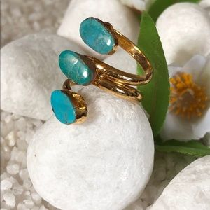 Jewelry - 🛍✨NATURAL TURQUOISE GOLD PLATED RING🛍✨